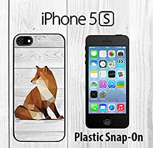Geometric Fox on Wood Custom made Case/Cover/skin FOR iPhone 5/5s -Black- Plastic Snap On Case ( Ship From CA)