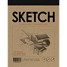 "Premium Paper Sketch Pad for Pencil, Ink, Marker, Charcoal and Watercolor Paints. Great for Art, Design and Education. (Jumbo 8.5"" x 11"")"