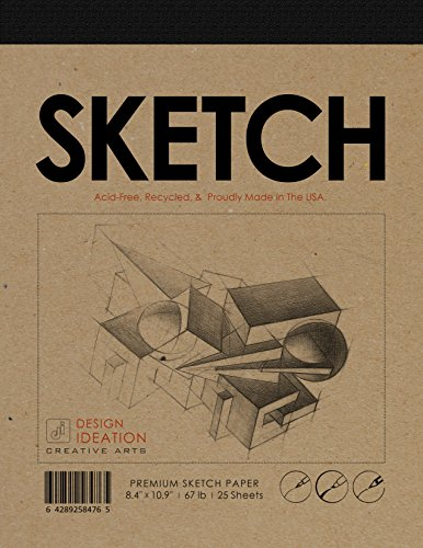 Best Charcoal Paper (Premium Paper Sketch Pad for Pencil, Ink, Marker, Charcoal and Watercolor Paints. Great for Art, Design and Education. (Jumbo 8.5