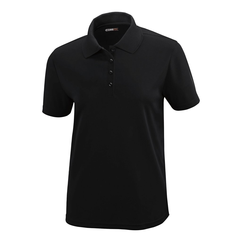 Ash City Ladies Origin Core 365 Performance Polo (X-Small, Black)