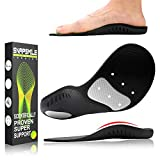 Snapsmile Scientifically Proven Plantar Fasciitis Orthotic Inserts - Shoe Insoles for Men and Women Arch Support Shoe Inserts Women Professional Insoles for Flat Feet Relieve Foot Pain - Black, L