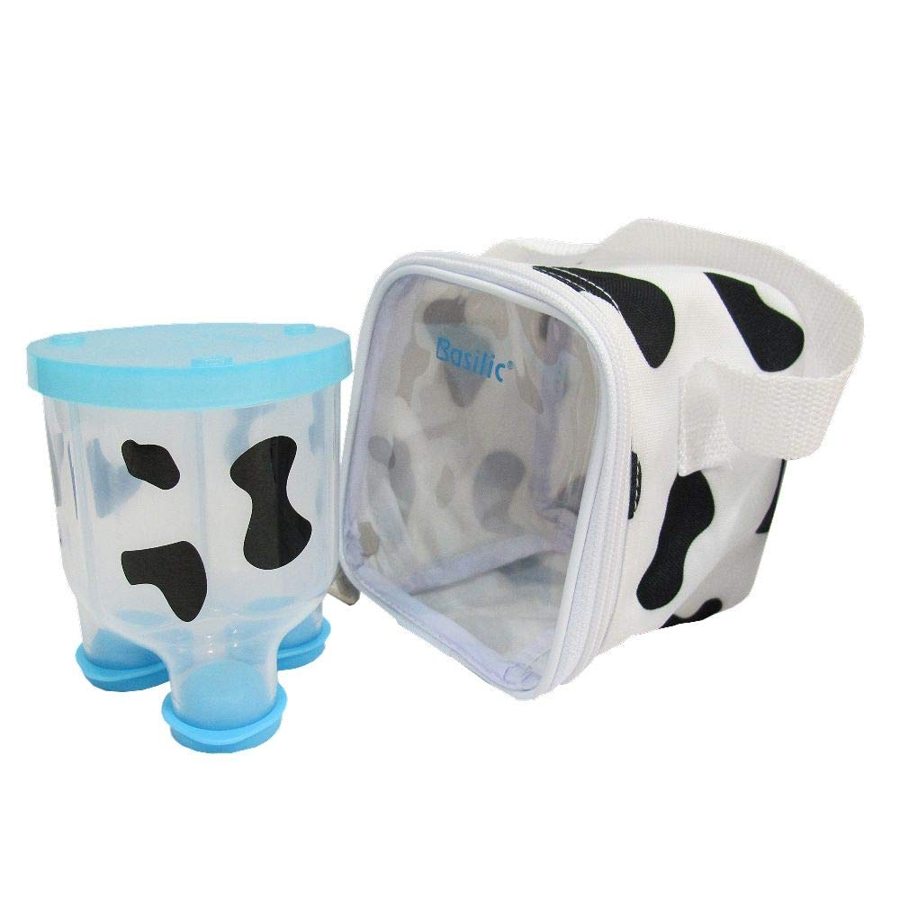 Basilic Baby Formula Milk Powder Dispenser/Snack Storage Cow Pattern - 3 Compartment (Blue) by Basilic
