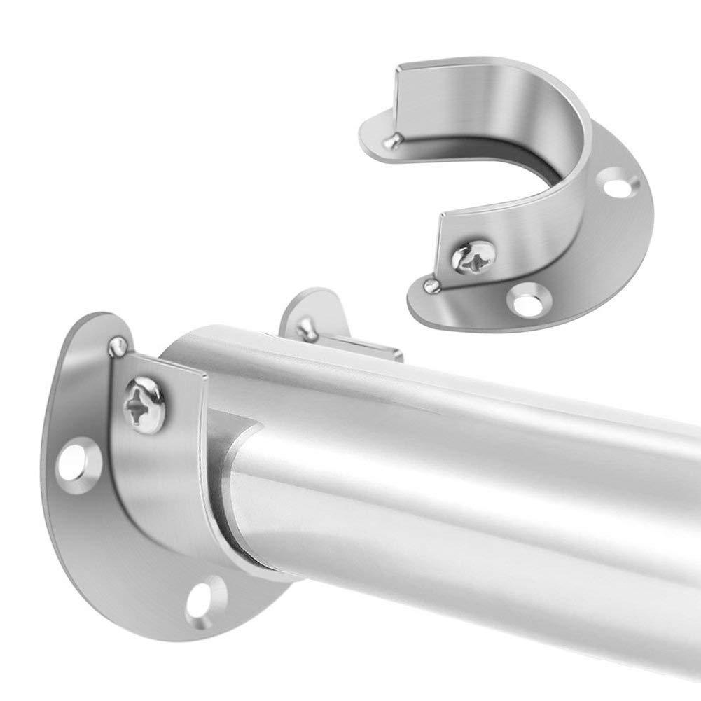 Acciaio inossidabile rod flangia socket set,4/pezzi asta armadio supporto asta di sostegno a forma di U presa flangia set Heavy Duty Closet Pole rod End supporta per armadio asta per tenda doccia