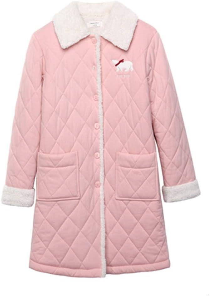 Nan Liang Pijamas de Invierno, camisón de algodón de Solapa de Manga Larga para Damas, Bata de baño Acolchada de Tres Capas Gruesas de Dibujos Animados Cómodo (Tamaño : XXL)