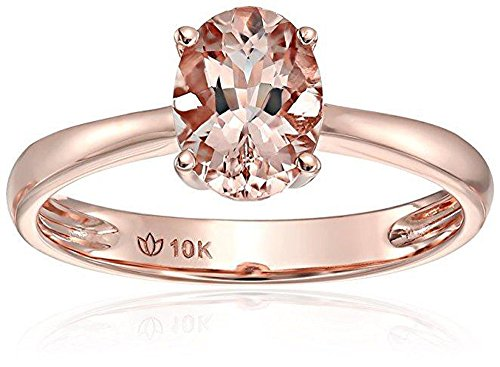 - JeenJewels Limited Time Sale 1 Carat Morganite (Oval Cut Morganite) Solitaire Engagement Ring in 10k Rose Gold for Women
