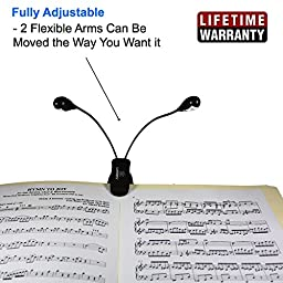 Lumiens L2 - Music Stand Light Clip On Book Reading Lamp - 4LED, 4 Levels of Brightness - No Flicker, Fully Adjustable, - Also for Mixing Table, DJ, Orchestra Pits, Craft Work, Cool Light (White)