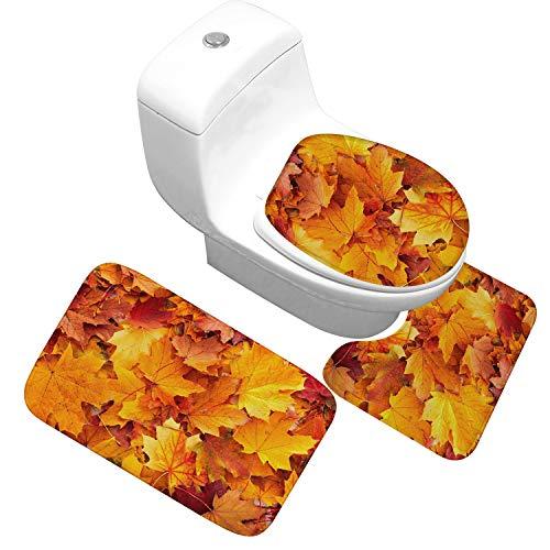 Household Bath Mat 3 Piece Set - Shower Mat Contour Rug Toilet Lid Combo- Non-Slip Durable Thick Plush - Autumn Maple Leaf,B,Small