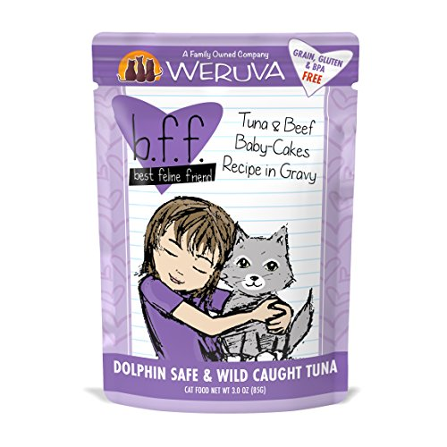 Weruva Best Feline Friend (B.F.F.) Tuna & Beef Baby Cakes with Tuna & Beef in Gravy Cat Food by, 3oz Pouch (Pack of (Soy Cake Recipe)