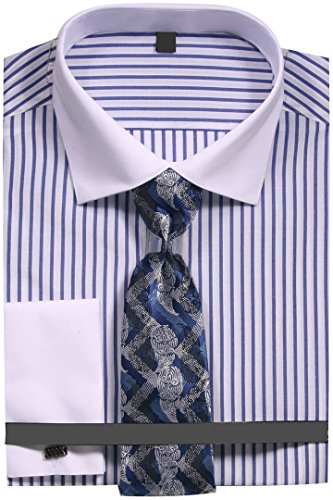 Sunrise Outlet Men's Slim Fit Stripe Dress Shirt with French Cuffs and Tie - Blue 14.5 32-33