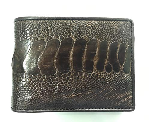 Dark Brown Genuine Ostrich Leg Skin Leather Man Bifold Wallet