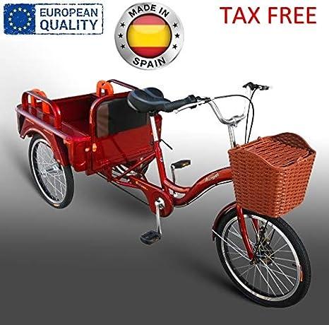 Triciclo eléctrico Adulto 250W 12Ah con almacenaje - Incluye cesta y asiento con respaldo