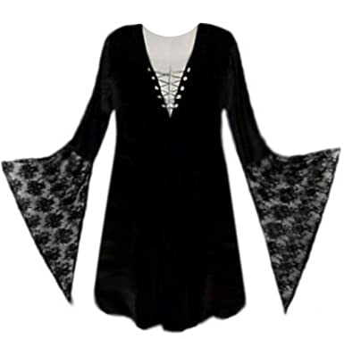 sanctuarie designs womens black with black sleeves gothic witchy plus size supersize halloween costume shirt