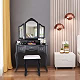 Black Dresser Vanity Set,Makeup Dressing Table with 5 Organization Drawers Set and Wooden Stool 3 Mirrors, Beauty Station for Women