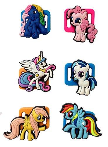 [Little Pony Shoelace Decoration Clips 6 Pcs Set #1] (Disney Tinker Bell Kids Sparkle Shoes)