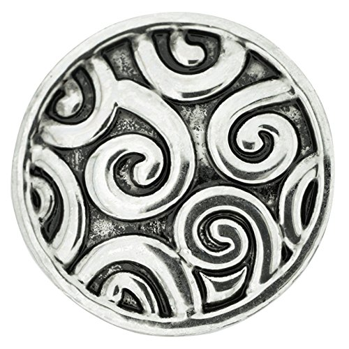 Silver Rose Snap (Ornate Curls Silver Nugz - interchangeable jewelry snap)