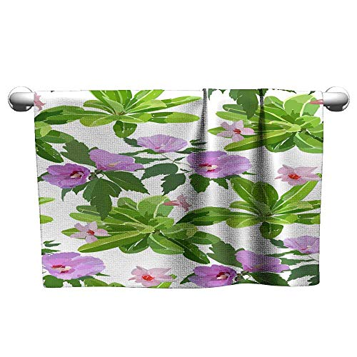 homecoco Towels for Kids Floral Seamless Pattern with Hibiscus Flowers and Leaves Botanical Illustration Hand Painted Textile Print Fabric Swatch Wrapping Paper 17 Camp Towel 20 x 40 Inch ()