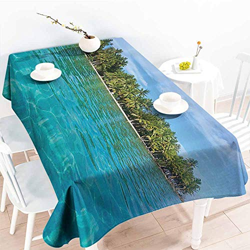 (Homrkey Restaurant Tablecloth Tropical Photo of Huahine Island with Palm Trees Forest Pacific Ocean Exotic Seascape Aqua Green Blue Soft and Smooth Surface W60 xL84)