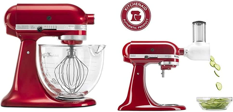 KitchenAid KSM155GBCA 5-Qt. Artisan Design Series with Glass Bowl - Candy Apple Red & KSMVSA Fresh Prep Slicer/Shredder Attachment, White
