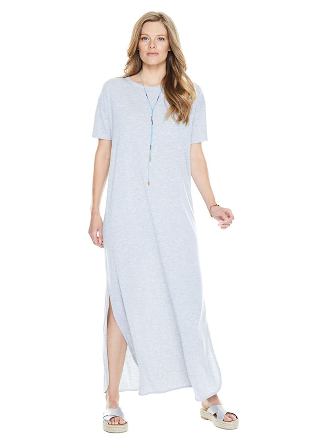 Women's Plus Size Scoop Neck Knot Maxi Dress