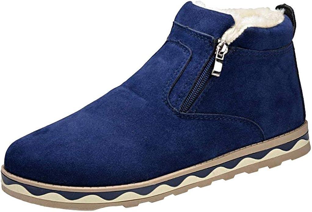Hibote Zapatillas de Deporte de Invierno para Hombre Low-Top Flat ...