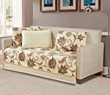 MK Home 5 Pc Daybed Bedspread Quilted Print Floral Beige Red Blue Taupe Over Size New # Jane
