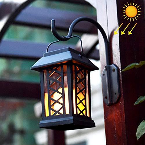 KANEED Luce solare, LEH-55154W Lampada da parete a energia solare, LED da giardino a candela con pannello solare in silicio amorfo da 0,2 W (nero) (colore   nero)