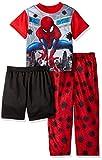 Marvel Little Boys' Spiderman 3-Piece Pajama Set, Red Web, 4