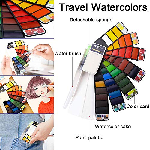 Dyvicl Watercolor Paint Set, 42 Assorted Colors Foldable Paint Set with Brushes, Travel Pocket Watercolor Kit for Students Adults Beginners Artist Field Sketch Outdoor Painting