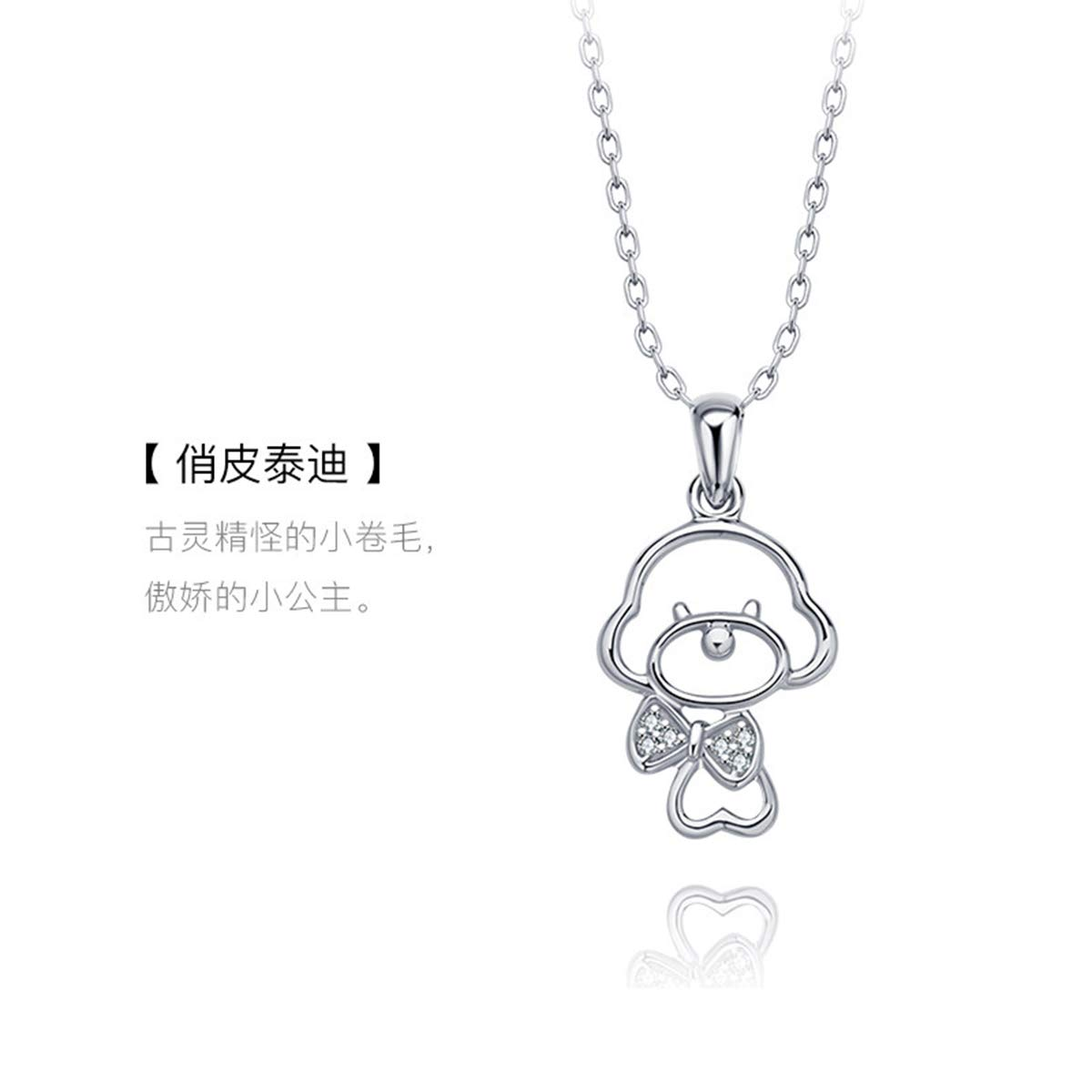 Onlyfo 925 Silver Crystal Accent Filigree Teddy Dog with Bowknot Pendant Necklace with Jewelry Box,Short Dog Necklace for Women (Silver)