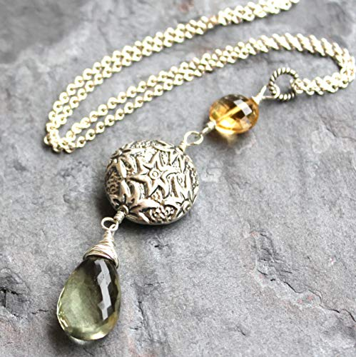 - Pendant Gemstone Necklace Green Amethyst Prasiolite Citrine Sterling Silver Elegant Statement