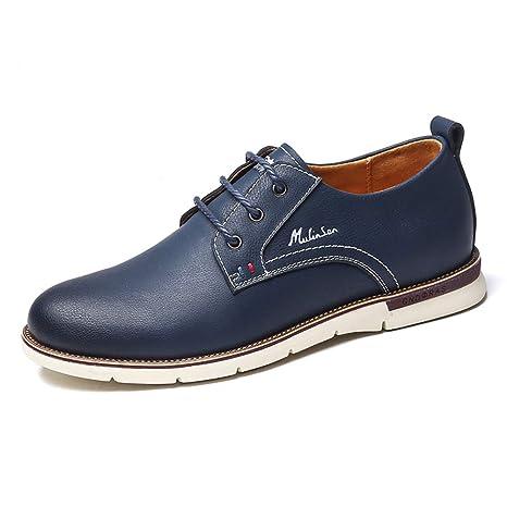 LXLA- Zapatos De Cuero con Cordones Ocasionales De Los Hombres, Mocasines Principales Redondos Cómodos