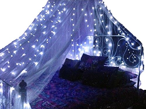 Basik Nature Mosquito Net Round Canopy De-Luxe Bundle with 2 BLUE Fairy Lights Battery Powered (King/Queen Size)