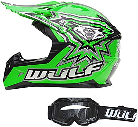 ECE 2205 Aprobado 49-50cm Gafas para Ni/ños Wulfsport Flite Casco de Moto de Motocross para Ni/ños Verde M