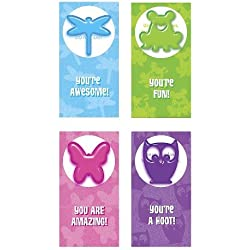 Valentine's Day 16ct Animal Gel Clings Exchange Cards