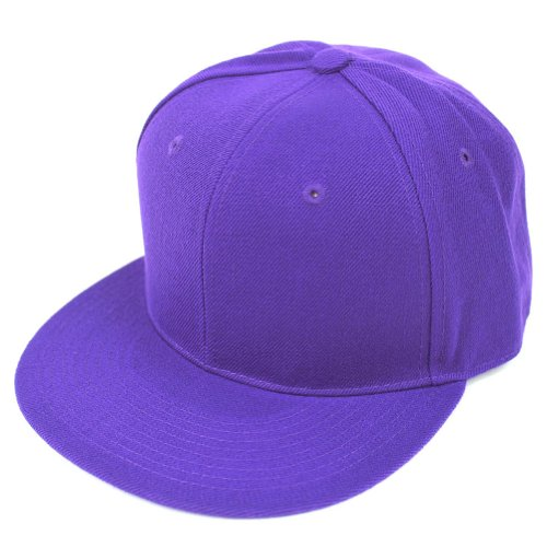 Purple Fitted Hat Cap - DECKY Men's Fitted Baseball Hat Cap Flat Bill Blank-7 3/8-Purple