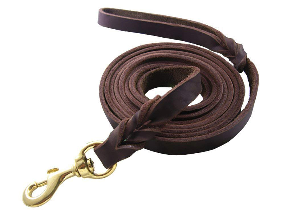 Training Dog Leash Handmade Braided Genuine Leather Leash 8.5 Foot Leather Dog Leash Brown by LWBMG