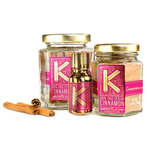 Highest Quality Premium Organic Ceylon Cinnamon Trio with Ground Powder (30g), Whole Sticks (45g), and Bark Oil by Patiya Market from Kamburupitiya, Sri Lanka - Zero Fillers, Raw, Gluten-Free, Non-GMO by Kamburupitiya Cinnamon (Image #4)