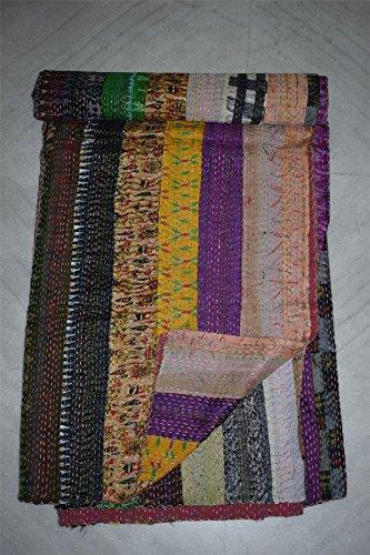 Tribal Asian Textiles Silk Quilt Indian Ikat Patola Kantha Patchwork Blanket Handmade Bed -