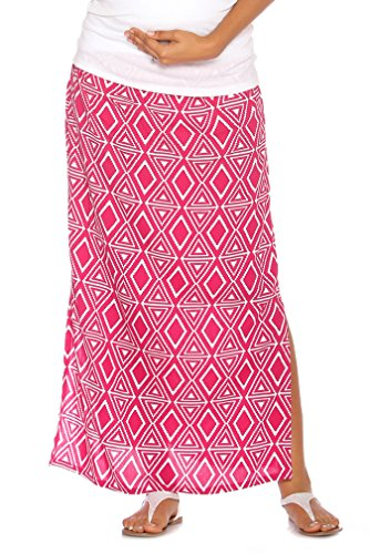 Due Maternity Isabella Pregnancy And Beyond Maxi Skirt - Magenta/White - X-Small
