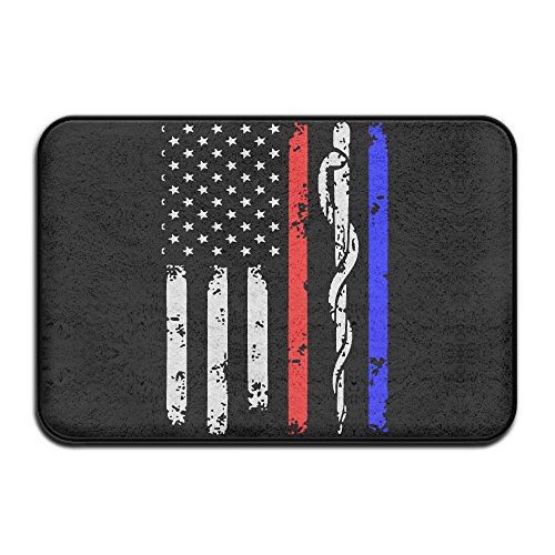 Fuucc-6 Inside & Outside Area Rug Floor Mat Police & Firefighter & EMT Flag Design Pattern For ()