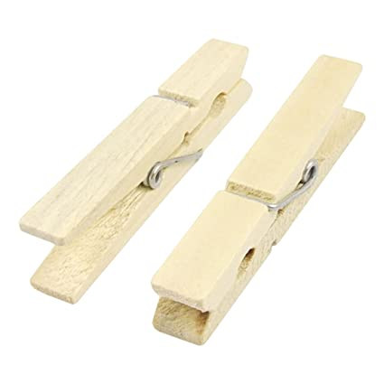 Wooden Clothes Pins Pegs Hanging Clips 24 Pcs