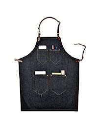 Perfashion Cool Men's / Women's Cute Apron with Adjustable Leather Straps & Waist Multi Pockets Halter Simple Apron