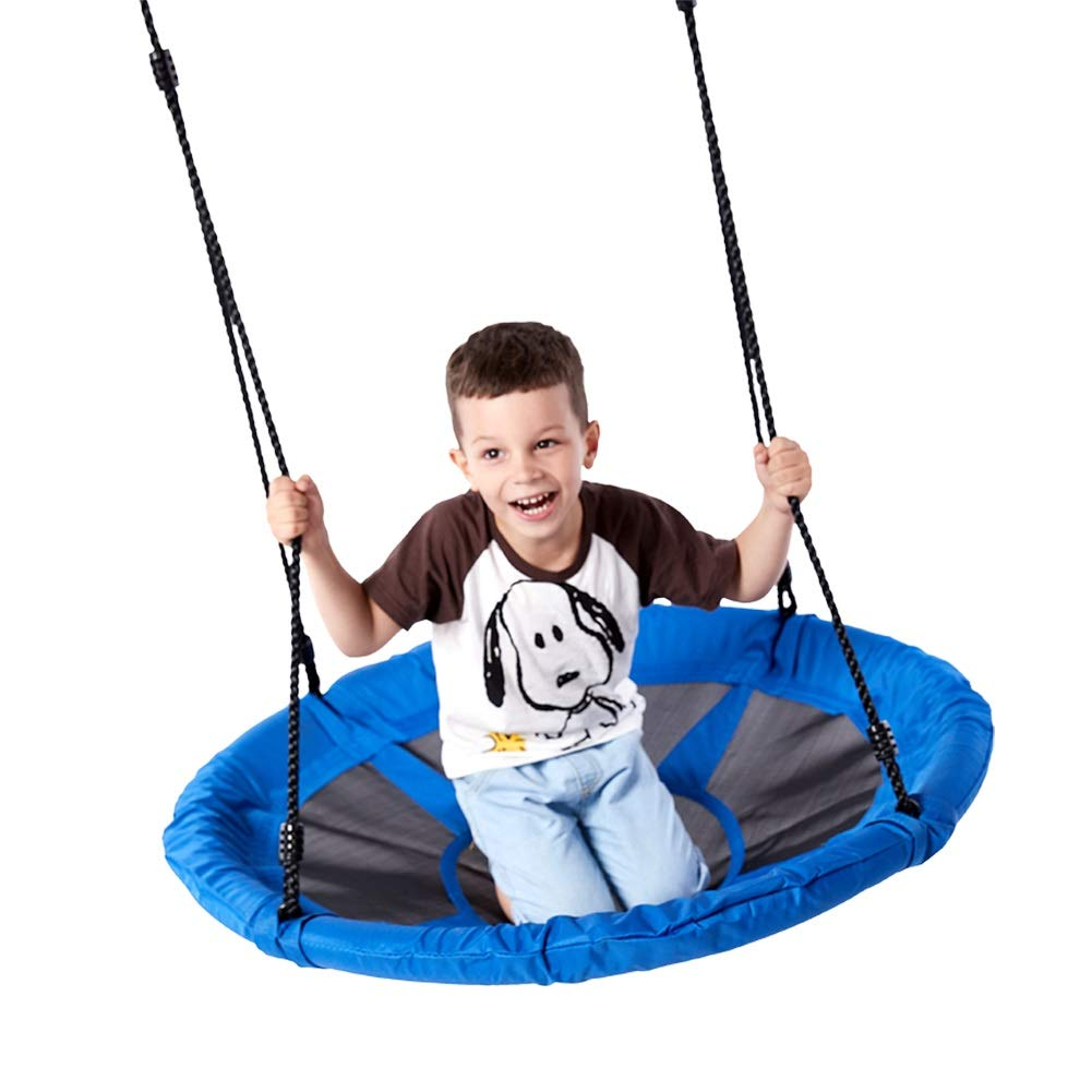YGJT 40'' Saucer Tree Swing Flying 700lb Weight Capacity Adjustable Multi-Strand Ropes Safe Durable Easy Install 900D Oxford Swing Seat for Children Adults - Blue by YGJT