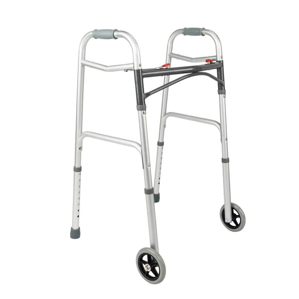 Mefeir Easy Folding Rolling Arc Rod Walker w/Front Wheels-Safety Mobility Aid for Adult, Senior, Elderly&Handicap, Lightweight, Portable, Adjustable Height, Ultra Convenient by Mefeir