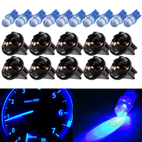 cciyu 10pcs T10 194 168 2825 Wedge SMD Led Bulbs Instrument Cluster Light Panel Gauge Lamp Blue w/Socket (2009 Ford Escape Shift Indicator Lamp Replacement)