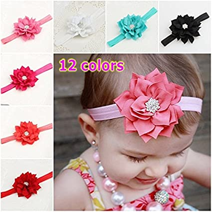 3PCS New Fashion Rhinestone Flower Baby Girls Hair Band Headband Infant Hair Accessories-Color Rosy