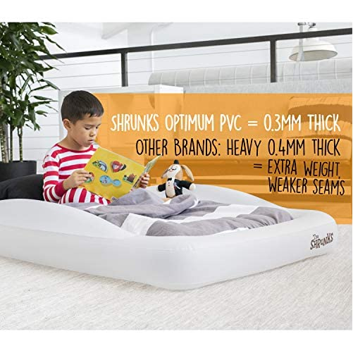 The Shrunks Toddler Travel Bed Portable Inflatable Air Mattress Blow Up Bed for Indoor/Outdoor Camping, Backyard, Hotel, or Home Use Kids Floor Bed with Security Bed Rails and Electric Pump 3