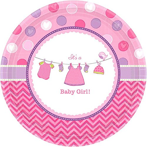 (Amscan 591489 Shower with Love Girl, Pink Round Plates, 10 1/2