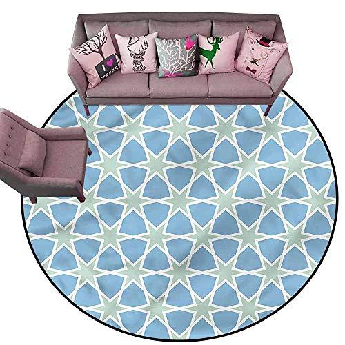 (Multi-USE Floor MAT Moroccan,Mosaic Roman Stars Diameter 72