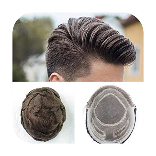 """Funlife-Shop Durable Nature Hairline Human Hair Toupee Density 130% Hair Prosthesis Lace Front Wig Men 6"""" 8X10 Mono In Center Men Hair Piece-One_Color-"""